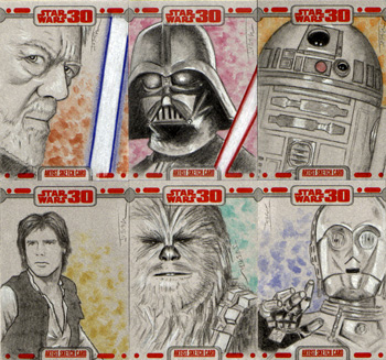 Justin Chung Star Wars 30th Anniversary Sketch Cards